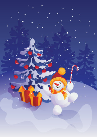 happy smiling jumping snowman with candy cane on winter forest scene background