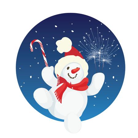 Happy cute cartoon snowman 版權商用圖片 - 90751117