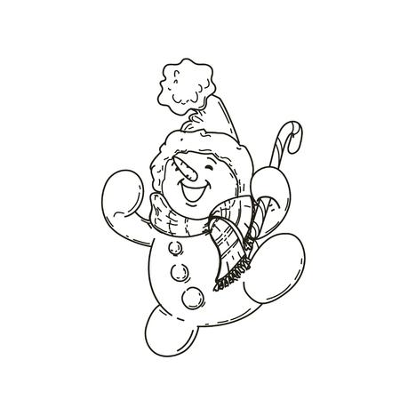 Happy cute cartoon snowman.