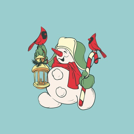 Character of snowman holding candy cane and lantern with cardinal bird Christmas and winter holidays design.