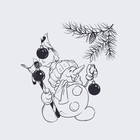 Character of snowman holding candy cane decorating pine brunch, cardinal bird are holding in its beak Christmas-tree balls. Christmas and winter holidays design. 版權商用圖片 - 93722235