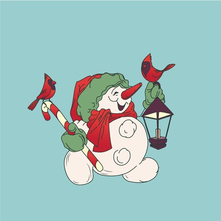 Cute smiling snowman with candy cane and Christmas lantern, card 版權商用圖片 - 93725431