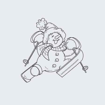 Cute character design of snowman on sky, happily jumping up to the sky. Linework and colored vector illustration