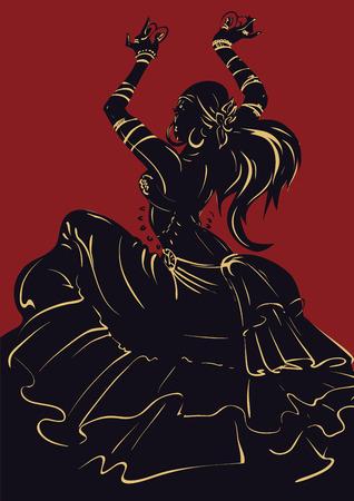 Tribal Fusion bellydance dancer stencil silhouette graphic design 版權商用圖片 - 97451839