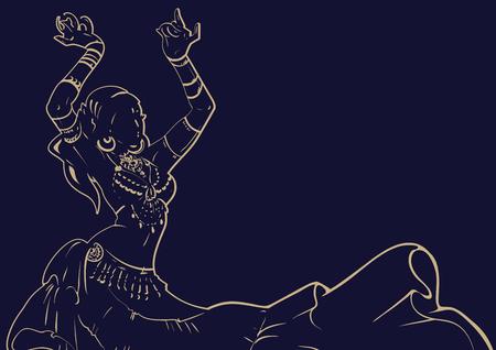 Tribal Fusion belly dancer contour graphic design Vettoriali