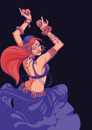Tribal Fusion bellydance dancer graphic design