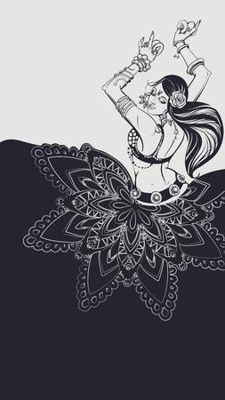Tribal Fusion bellydance dancer contour graphic design Vectores