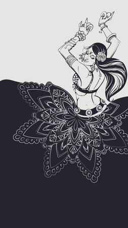 Tribal Fusion bellydance dancer contour graphic design Vettoriali