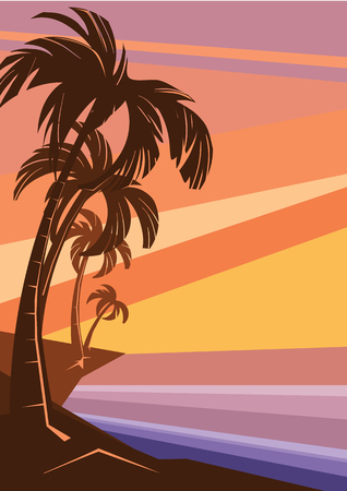 fantasy tropic ocean cost sunset with palm 向量圖像