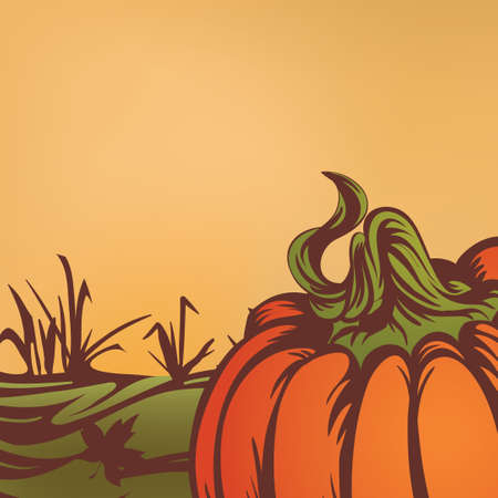 pumpkin on the field. Autumn leaves fall. Season of harvest. Seasonal vector illustration.