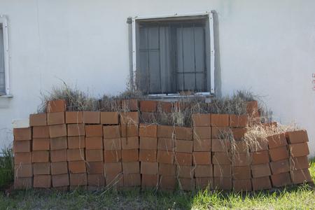 힙 벽돌. 사용되지 않기 때문에 잡초가 있습니다. 스톡 콘텐츠
