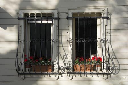 Twin Fenster mit Blumen geschmückt. Es gibt Fenstergeländer für die Sicherheit Standard-Bild - 80060199
