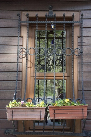 guardrails: Twin window decorated with flowers.There are window guardrails for safety