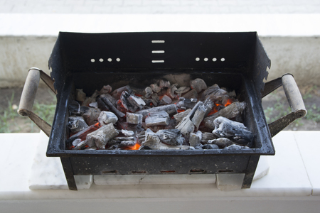 Ashes in barbecue. The coals are warm enough.embers Stock Photo