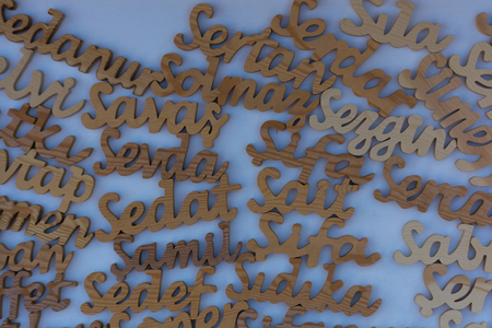 Names written in woodcut. As the sun waits, the wooden textures emerge