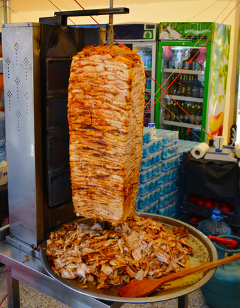 döner kebab made of chicken meat. traditional turkish food.