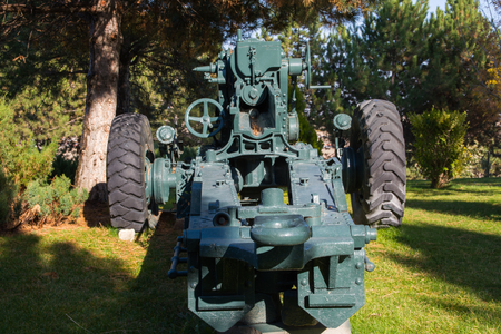 Old war cannon in the forest.