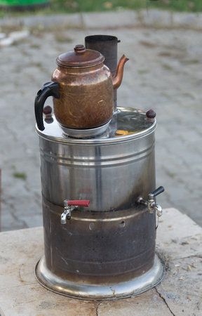 tea-brewing vehicle. street, picnic, walks use to brew tea Standard-Bild