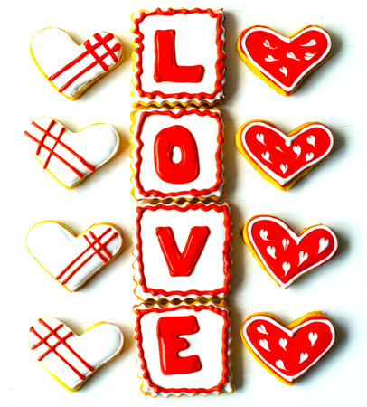 Cookies made for Valentine's Day.for couples in love. delicious love cookies. lovers cook 스톡 콘텐츠