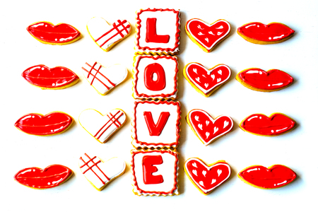 Cookies made for Valentines Day.for couples in love. delicious love cookies. lovers cook