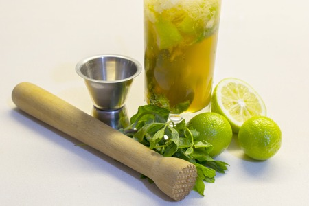Mojito is a traditional Cuban highball.The mojito is a cocktail of five ingredients: white rum, sugar, lemon juice, soda water and mint.