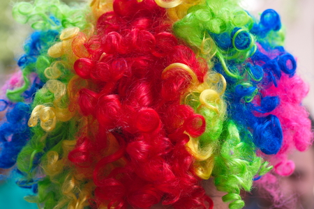 multicolored artificial hair. wigs worn by clowns