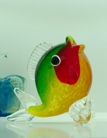 fish figure made of glass. Colored glass ornaments. glass blowing technique, Stock Photo