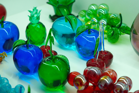 fruit figures made of glass.  Colored glass ornaments. glass blowing technique, Stock Photo