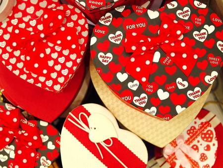 hearted gift boxes on the Valentines Day. surprise love boxes