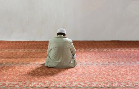 The man who worshiped in the mosque. Praying to Allah in Ramadan
