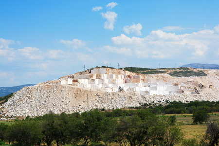 marble mine, are cut into blocks and removed from the mine Stok Fotoğraf