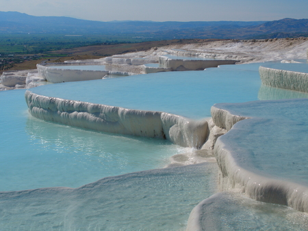 cotton castle travertines.  a wonder of nature that occurs by thermal waters. UNESCO World Heritage List Banco de Imagens