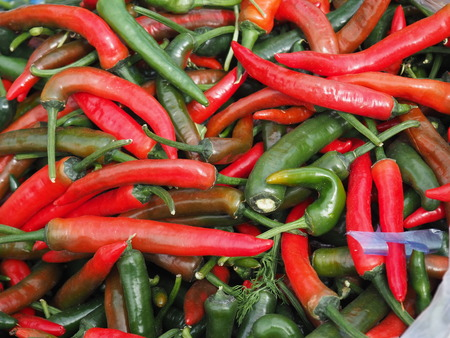 colorful fresh peppers. organic vegetable background 免版税图像