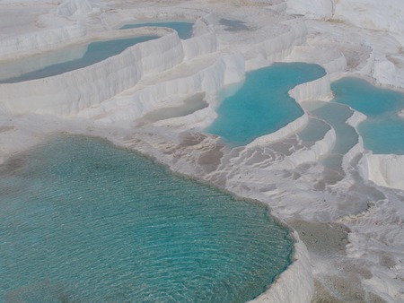 cotton castle travertines. a wonder of nature that occurs by thermal waters. Stok Fotoğraf