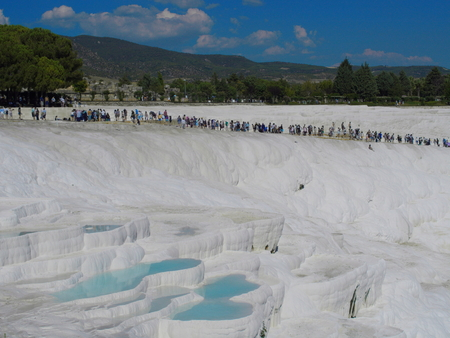 cotton castle travertines.  a wonder of nature that occurs by thermal waters. UNESCO World Heritage List Stok Fotoğraf