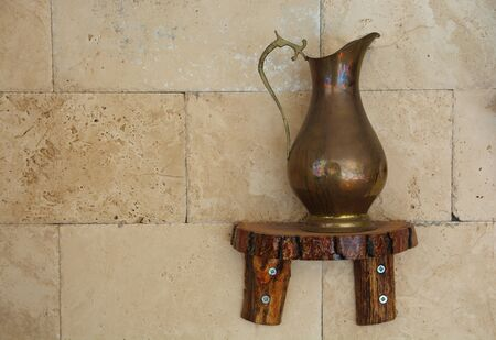 old copper ewer. Turkish water container used in the past