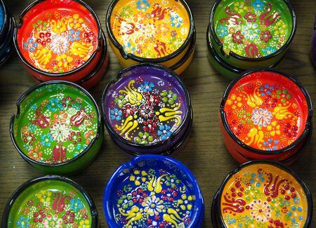 decorative, patterned porcelain. ashtray and bowls. tile cup, tile ash trays. Stok Fotoğraf