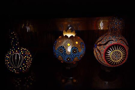 bottle gourd lamp. made of calabash, decorative lamps. bottle gourd Imagens