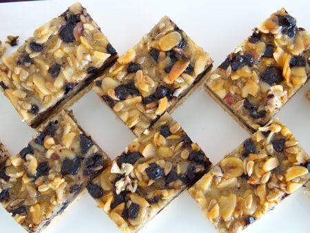 whole grain chocolate protein bars. nutritious sport, diet food. Stok Fotoğraf