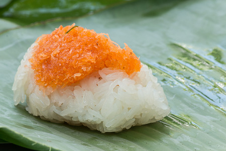 shred: Sticky rice with Shrimp and shred coconut  wrapped in banana