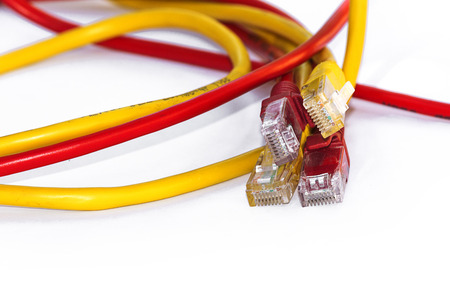 bandwidth: Wire Lan connection bandwidth cable communication computer internet Stock Photo