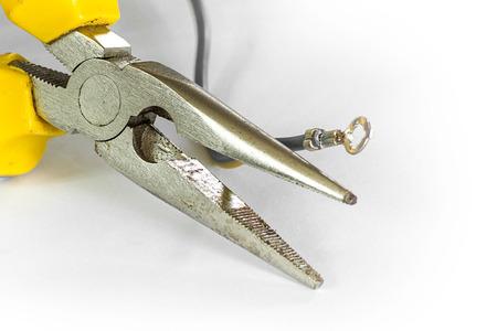 Pliers tool isolate white photo