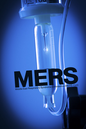 saline solution: Close up saline solution blue background with MERS text