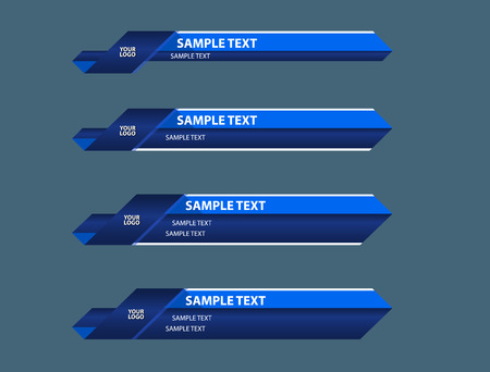 blue lower third TV bottom banners name logo