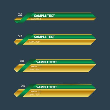 金緑のより低い第 3 テレビ下のバナーの名前  イラスト・ベクター素材
