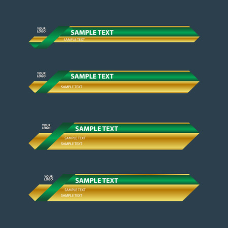bottom: Gold green lower third TV bottom banners name Illustration