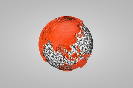 wire globe: 3D orange globe wire asia Stock Photo
