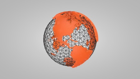 wire globe: 3D orange globe wire Stock Photo