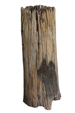 chock: one old timber with isolated white