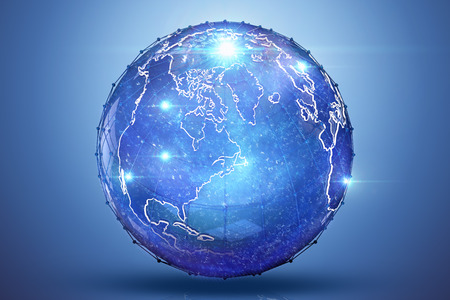 multinational: Blue Earth 3D render with light lens flares